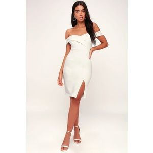 NWT Lulus GLAM WHITE OFF SHOULDER BODYCON DRESS S